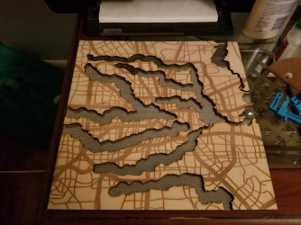 laser engraved map with laser engraved mirrored acrylic